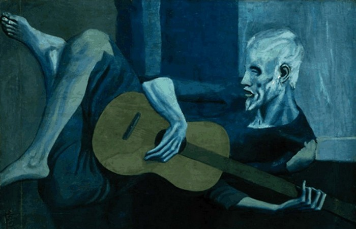 «Старый гитарист», Пабло Пикассо. Есть мнение, что именно такое положение картины правильное.