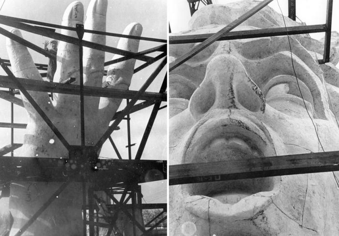 Фотографии периода строительства монумента.