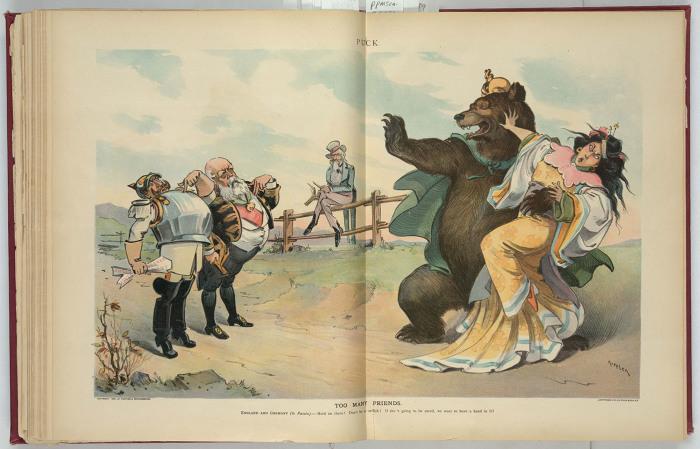 «Слишком много друзей». Англия и Германия — русскому медведю, схватившему китайскую принцессу: «Постой-ка! Не будь таким эгоистом! Собрался ее спасать — так дай и нам с этим помочь!»