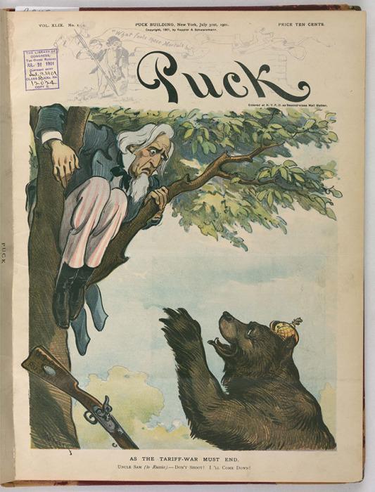 «Как должна закончиться война тарифов». Дядя Сэм — русскому медведю: «Не стреляй! Я готов спуститься!»