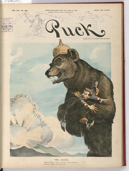 «Союзники». Русский медведь, направляющийся к буре на Балканах: «Не бойся, не уроню!». Франция: «Того и боюсь!»