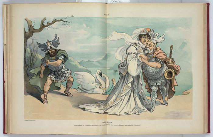 «Слишком поздно». Эльза-Франция — английскому рыцарю Лоэнгрину: «О, как ты опоздал! Уж Тельрамунду отдана!» [по опере Вагнера «Лоэнгрин»