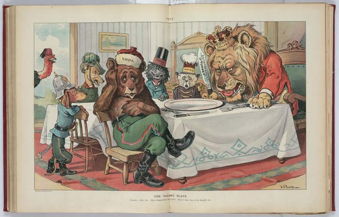 «Пустая тарелка». У английского льва нож с надписью «Расчленение Турции». Индейка-Турция заглядывает с улицы: «До чего же грустны! А я ни на что не жалуюсь!»