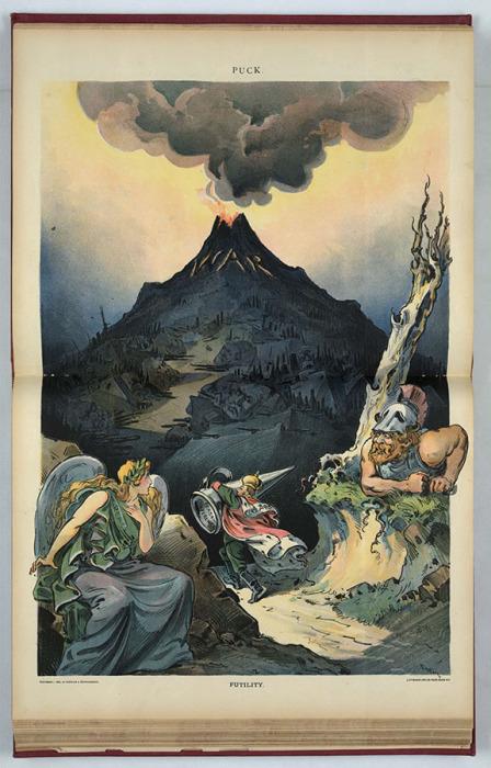 «Тщета»: царь пытается поднять заглушку («мирную конференцию») на вершину, чтобы закрыть вулкан войны.