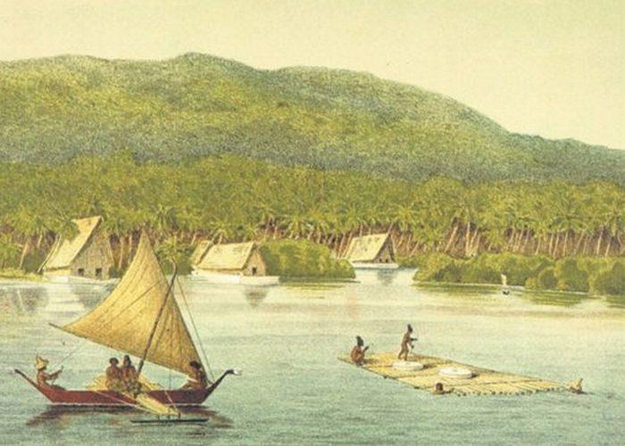 Перевозка каменных денег на острова Яп.
