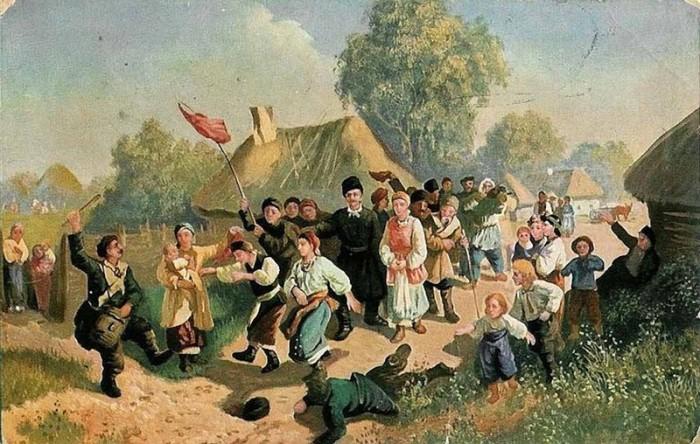 Соколов И.И. «Проводы в город парубков, назначенных в рекруты», 1860-е годы