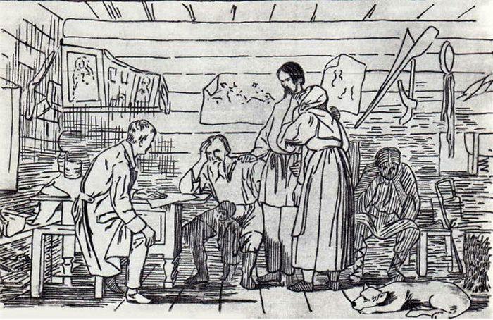 «Весть о рекрутском наборе». Литография с картины В.Бочина, 1860