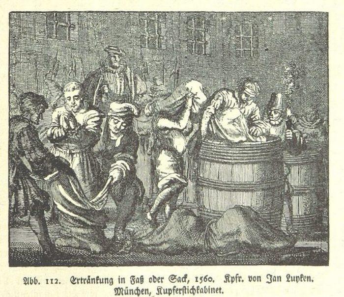 «Утопление в бочке в Одере» - эскиз 1560 года.