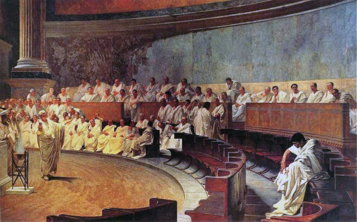 Заседание римского Сената: Цицерон обвиняет Катилину. Фреска XIX в Палаццо Мадама, Рим.