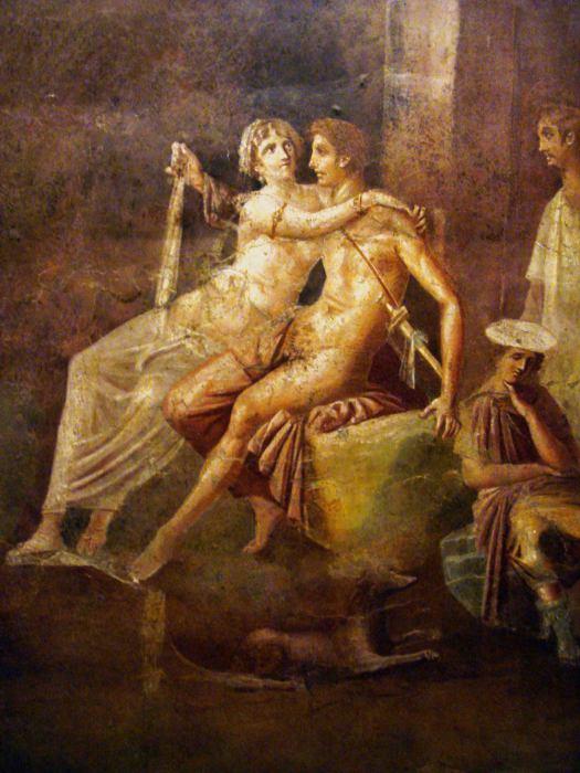 Дидона, обнимающая Энея. Римская фреска в Доме Кифариста в Помпеях, Италия (10 г. до н.э. - 45 г. н.э.).