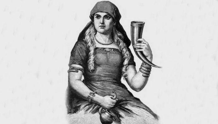 Изображение скандинавской богини Сиф с рогом для питья, 1893 год.