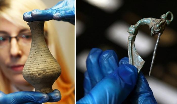 Артефакты, обнаруженные во время реконструкции дороги в Великобритании.