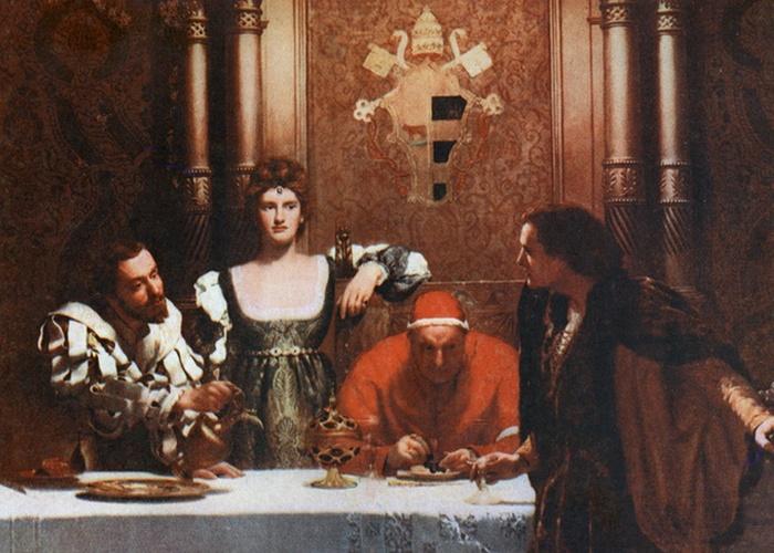 Фрагмент картины «Бокал вина с Цезарем Борджиа»,худ. Джон Кольер./фото: nevsepic.com.ua