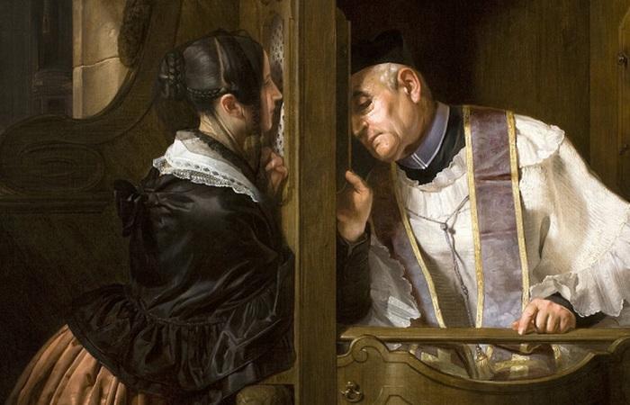 Католический священник исповедует./ фото:sedmitza.ru