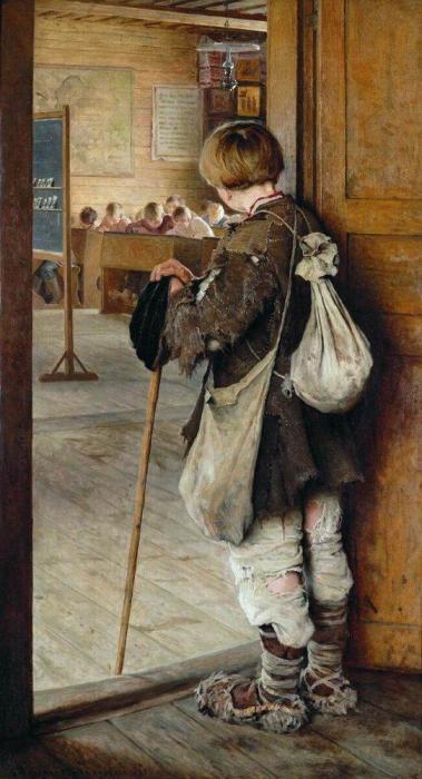 «У дверей школы». Автор: Николай Богданов-Бельский.