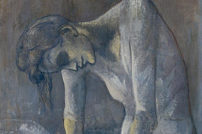 Изображение мужчины под портретом гладильщицы.