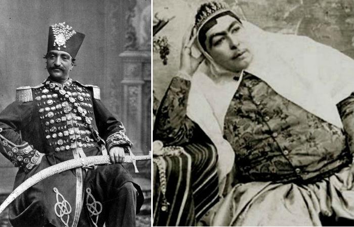 Насер ад-Дин Шах Каджар и его любимая жена Анис аль-Долех.