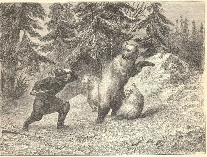 Схватка охотника с медведями.