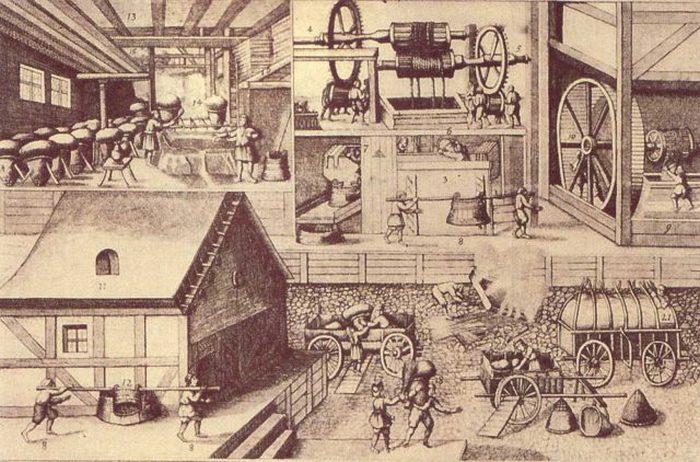 Производство соли в Галле, Саксония-Анхальт (1670 год)