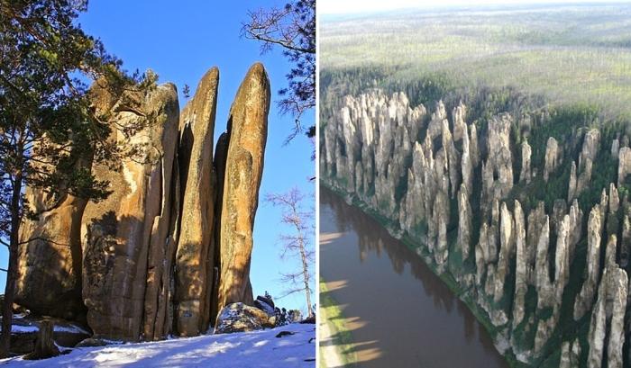 Удивительные природные столбы в России.