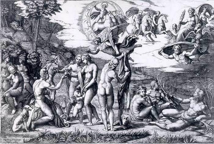 Гравюра с картины Рафаэля *Суд Париса*.