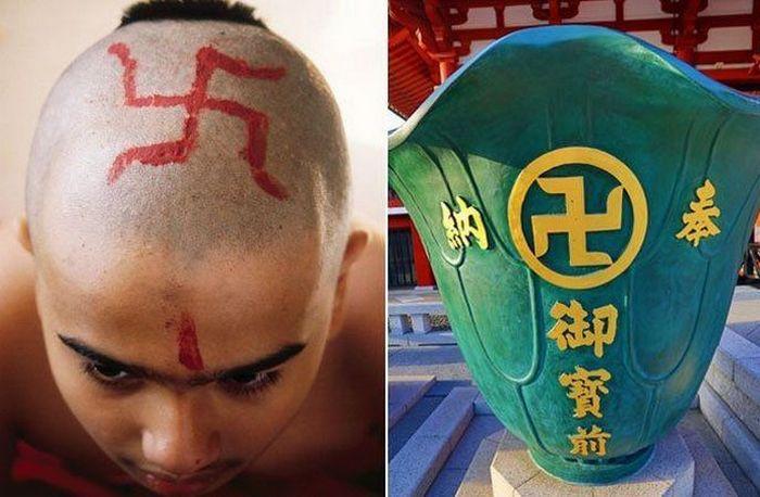 Мальчик-индуист с обритой головой и ваза в буддийском храме в Японии.