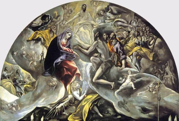 Библейский сюжет в верхней части картины Эль Греко *Погребение графа Оргаса*.