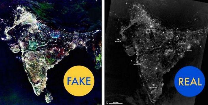Фото Индии во время праздника Дивали, сделанное НАСА.