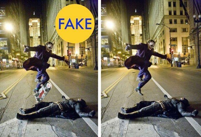 Хит Леджер в роли Джокера перепрыгивает на скейте Бэтмена.