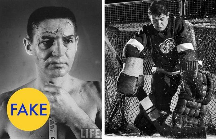 Лицо хоккейного вратаря, до того как ввели обязательное ношение защитных шлемов.
