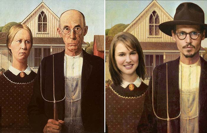 Знаменитая картина Гранта Вуда и пародия на нее.