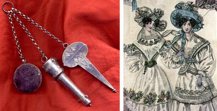 """Слева очень ранний пример шатлена (1680 год) с подушечкой, комплектом иголок и наперстком, а также чехлом для ножниц. Справа иллюстрация из """"Мира моды"""