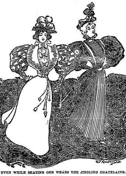 """Иллюстрация 1896 года из газеты """"Милфордская почта"""", на которой изображена """"настоящая хозяйка, которая даже во время катания на коньках не забывает о шатлене с ключами и прочими необходимыми мелочами. Все члены общества, от дам из высшего света до горничных, начали пользоваться этим аксессуаром."""