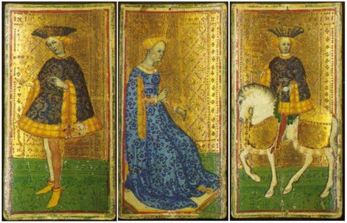 Шут кубков, Королева мечей, Рыцарь кубков. / Фото: thevintagenews.com