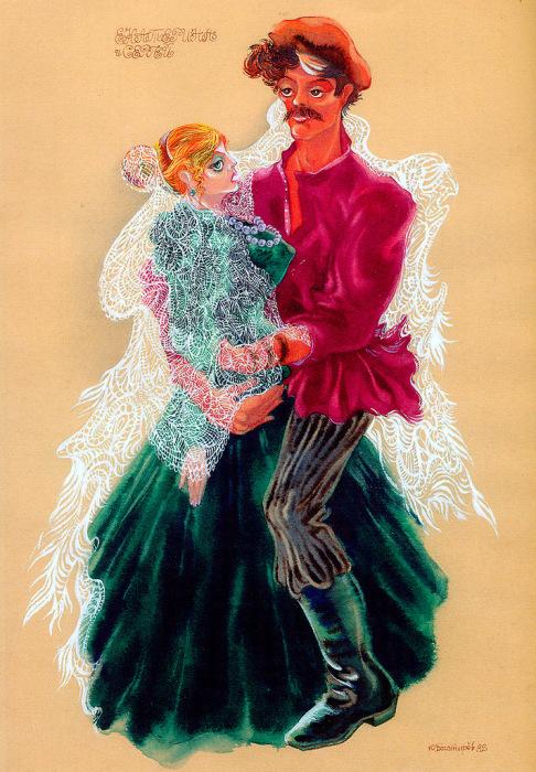 Наталья Гунадарева и Виктор Корешков в постановке театра Маяковского «Леди Макбет Мценского уезда», 1982 год.