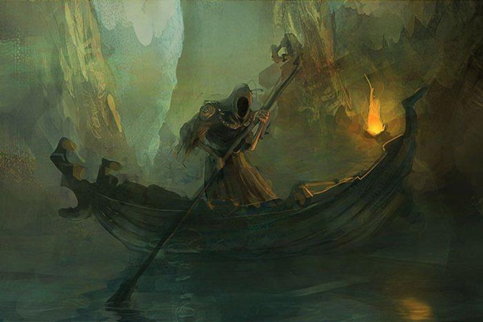 В мифологии древних греков  лодкой управлял Харон.