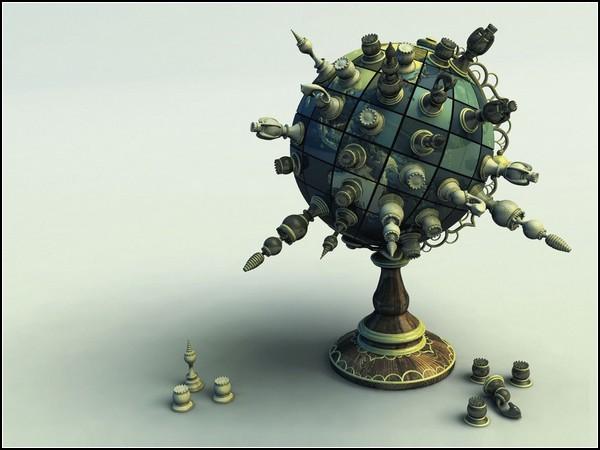 Пространства шахматных полей: глобус