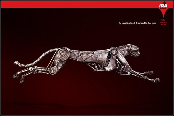 Искусство скульптуры в рекламе. Механическая кошка