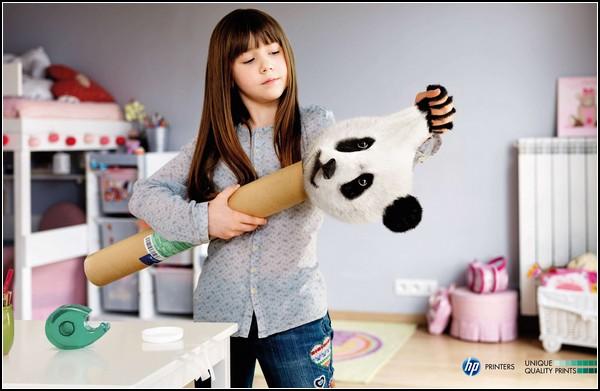 Панда, затаившаяся в рекламе принтеров