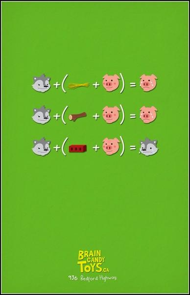 Части сказки - в уравнениях. Три поросенка