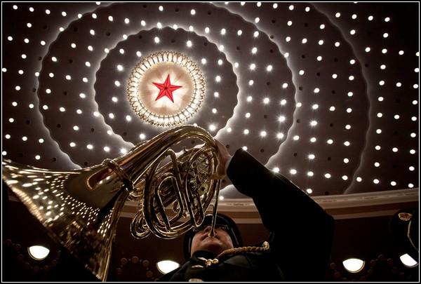 Юбилей Коммунистической партии Китая. Военный оркестр в Доме народных собраний