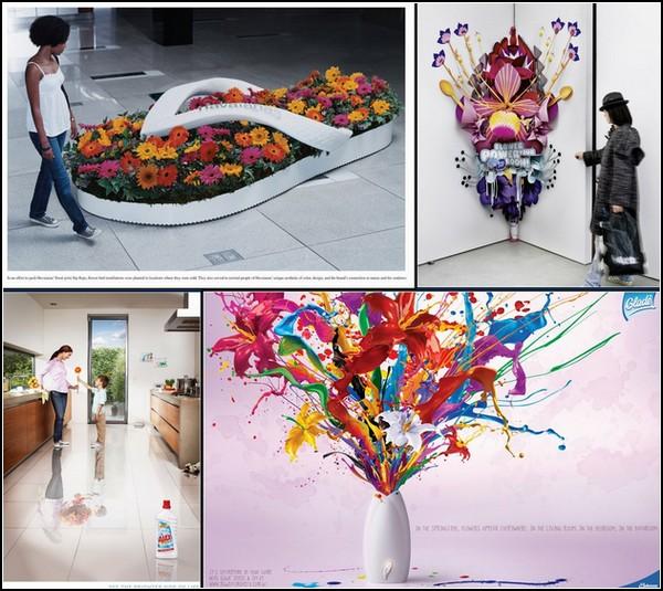Креативная реклама цветов и цветы в креативной рекламе