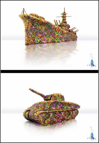 Реклама цветов, танков, кораблей и моющего средства