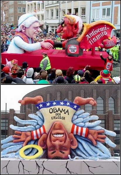 Барак Обама и римский папа - герои политических карикатур