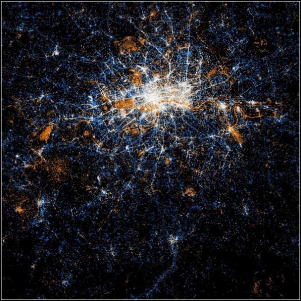Карты пользователей Flickr и Twitter. Лондон