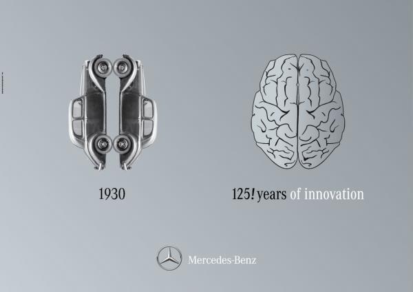 Первые рекламные попытки связать Mercedes-Benz с мозгом