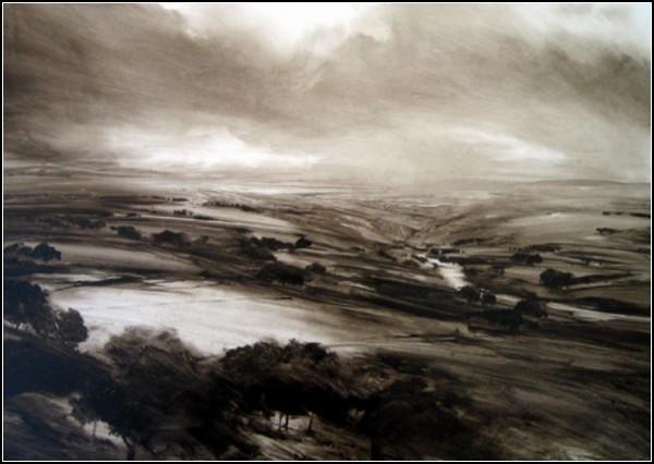 Монохромный деревенский пейзаж Джеймса Ноутона. *Река*