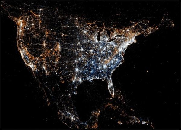 Карты пользователей Flickr и Twitter. Америка