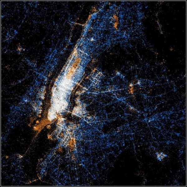 Карты пользователей Flickr и Twitter. Нью-Йорк