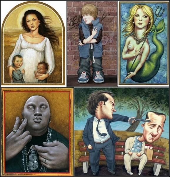 Шаржи и карикатуры Аниты Кунц: забавные портреты знаменитостей